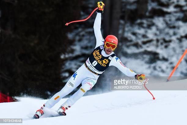 Italy's Christof Innerhofer competes in the FIS Alpine World Cup Men Downhill on December 15 2018 in Val Gardena Groeden Italian Alps