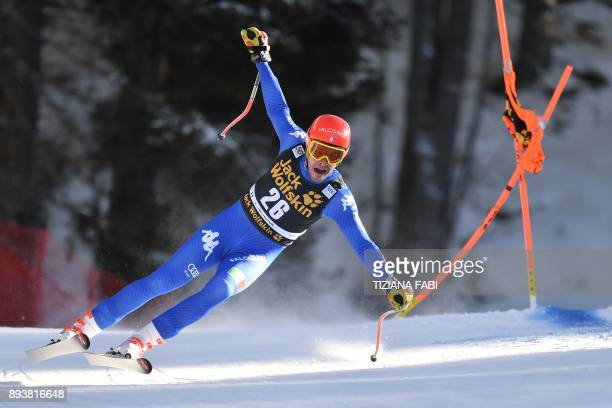 Italy's Christof Innerhofer competes in the FIS Alpine World Cup Men Downhill on December 16 2017 in Val Gardena Groeden Italian Alps / AFP PHOTO /...