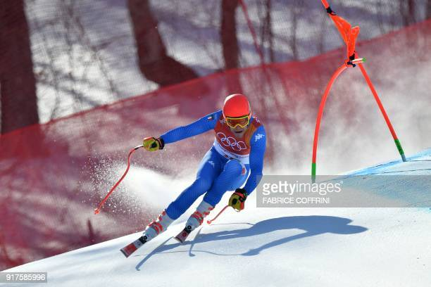 TOPSHOT Italy's Christof Innerhofer competes in the Men's Alpine Combined Downhill at the Jeongseon Alpine Center during the Pyeongchang 2018 Winter...