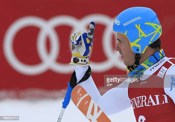 Italy's Christof Innerhofer reacts after competing during the men's World Cup SuperG on January 25 2013 in Kitzbuehel Norway's Aksel Lund Svindal won...