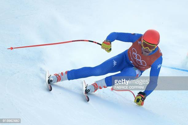 TOPSHOT Italy's Christof Innerhofer takes part in the Men's Downhill 2nd training at the Jeongseon Alpine Center during the Pyeongchang 2018 Winter...