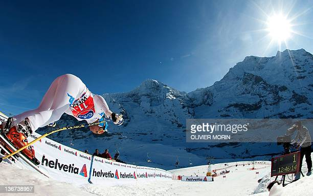 Italy's Christof Innerhofer takes the start of the FIS World Cup Men's Downhill training on January 11 in Wengen AFP PHOTO / OLIVIER MORIN