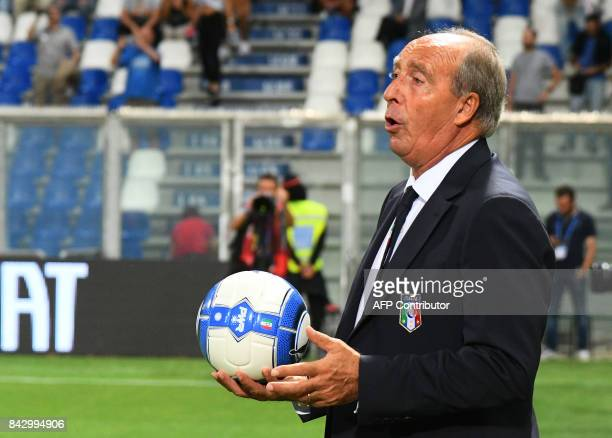 Italy's coach Giampiero Ventura gestures prior to the FIFA World Cup 2018 qualification football match between Italy and Israel in Reggio Emilia on...