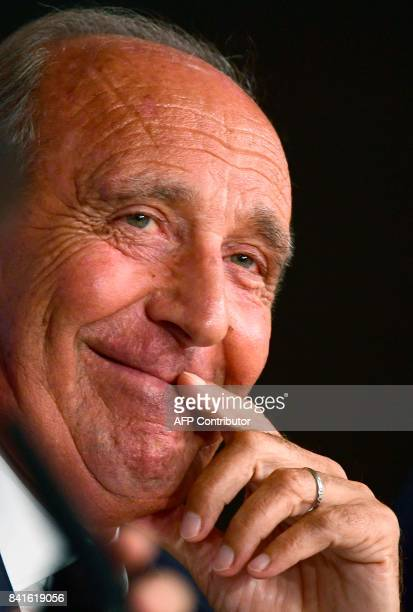 Italy's coach Gian Piero Ventura gives a press conference at the Santiago Bernabeu stadium in Madrid on September 1 on the eve of the World Cup 2018...