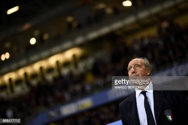 Italy's coach Giampiero Ventura looks on before the FIFA World Cup 2018 qualification football match between Italy and Macedonia on October 6 2017 at...