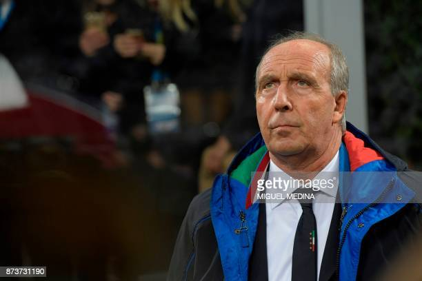 Italy's coach Giampiero Ventura looks on before the FIFA World Cup 2018 qualification football match between Italy and Sweden on November 13 2017 at...
