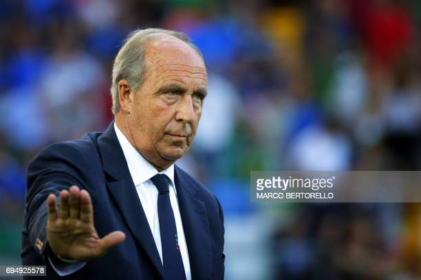 Italy's coach Gian Piero Ventura looks on during the FIFA World Cup 2018 qualification football match between Italy and Liechtenstein at the Dacia...