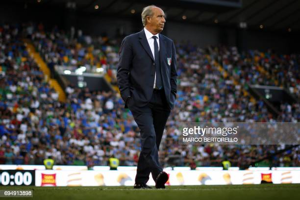 Italy's coach Gian Piero Ventura looks on from the touchline during the FIFA WC 2018 football qualification match between Italy and Liechtenstein at...