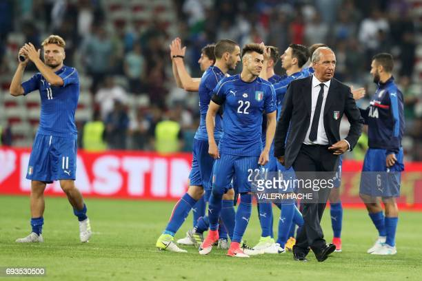 Italy's coach Gian Piero Ventura reacts after his team won the friendly football match Italy vs Uruguay at the Allianz Riviera Stadium in Nice...