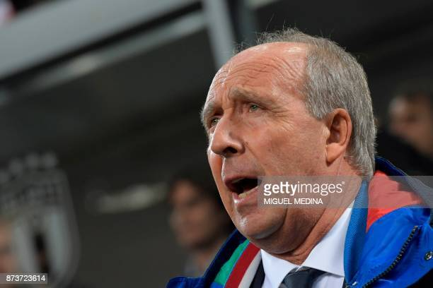 Italy's coach Gian Piero Ventura sings Italy's natioal anthem prior the FIFA World Cup 2018 qualification football match between Italy and Sweden on...