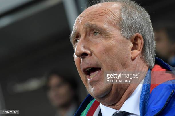 Italy's coach Giampiero Ventura sings Italy's natioal anthem prior the FIFA World Cup 2018 qualification football match between Italy and Sweden on...