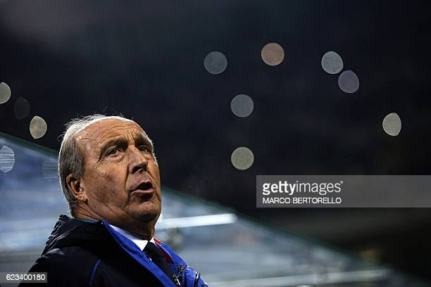 Italy's coach Gian Piero Ventura sings the Italy's national anthem during the International friendly football match Italy vs Germany on November 15...