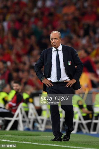 Italy's coach Gian Piero Ventura stands on the sideline during the World Cup 2018 qualifier football match Spain vs Italy at the Santiago Bernabeu...