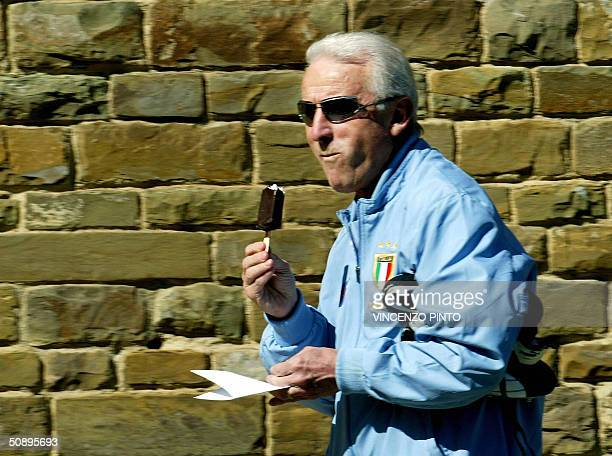 Italy's coach Giovanni Trapattoni arrives for a training session in Coverciano training camp near Florence 25 May 2004 The Italian national team are...