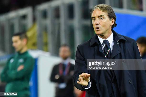 Italy's coach Roberto Mancini gives instructions during the Euro 2020 1st round Group J qualifying football match Italy v Armenia on November 18 2019...