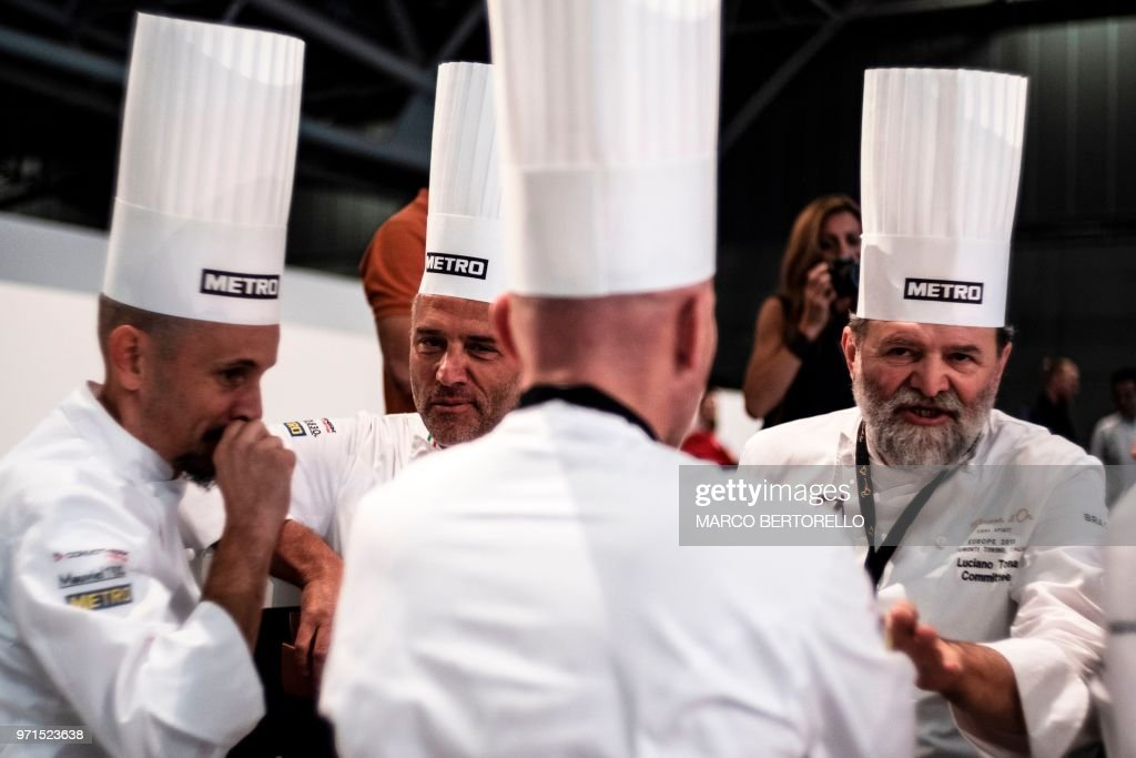 Italy's committee chat during the Europe 2018 Bocuse d'Or International culinary competition on June 11, 2018 in Turin.