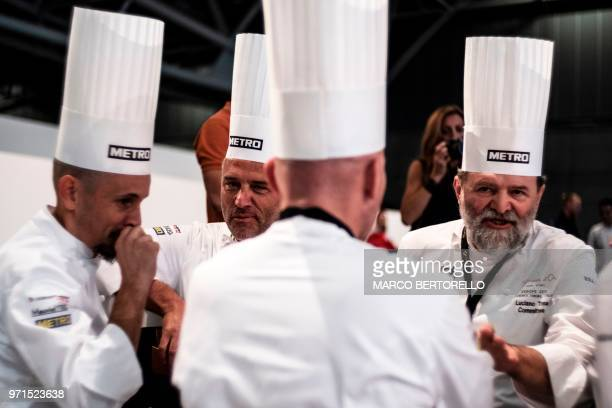 Italy's committee chat during the Europe 2018 Bocuse d'Or International culinary competition on June 11 2018 in Turin