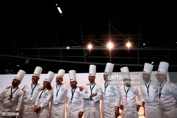 Italy's committee pose during the Europe 2018 Bocuse d'Or International culinary competition on June 11 2018 in Turin