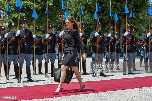 Italy's Constitutional Reforms and Relations with Parliament Minister Maria Elena Boschi arrives for a meeting with the Italian and Canadian prime...