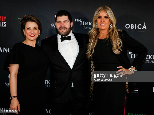 Italy's Consul General Silvia Chiave actor Salvatore Esposito and producer Tiziana Rocca attend the Filming in Italy event at the Italian Cultural...