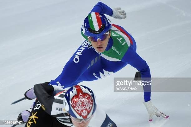Italy's Cynthia Mascitto competes in the women's 1500m quarter-finals during the 2021/2022 ISU World Cup short track speed skating, part of a 2022...