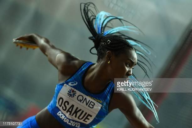 Italy's Daisy Osakue competes in the Women's Discus Throw heats at the 2019 IAAF Athletics World Championships at the Khalifa International stadium...