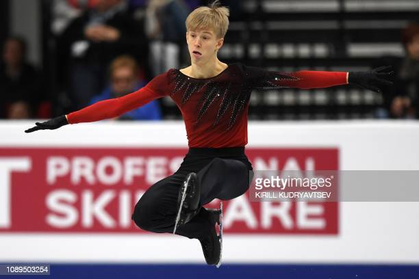 Italy's Daniel Grassl performs in the men's free skating event at the ISU European Figure Skating Championships in Minsk on January 26, 2019.