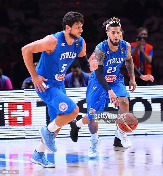 Italy's Daniel Hackett and Alessandro Gentile in action during the EuroBasket 2015 Round of 16 match between Israel and Italy at the Pierre Mauroy...
