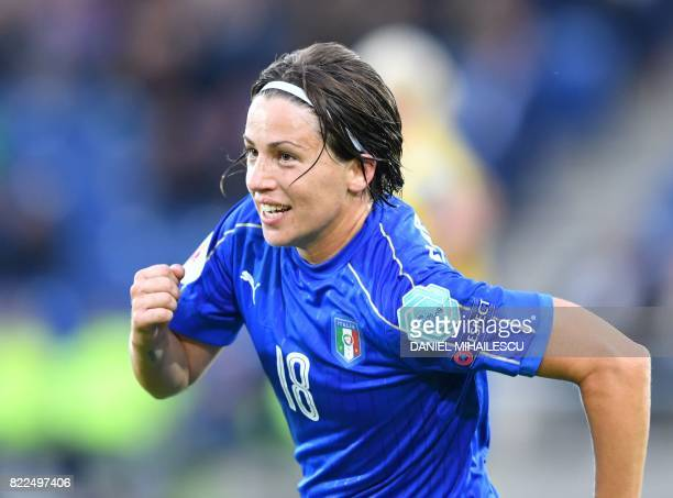 Italy's Daniela Sabatino celebrates after scoring Italy's second goal during the UEFA Women's Euro 2017 football match between Sweden and Italy at De...