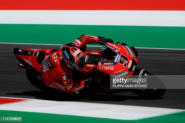Italy's Danilo Petrucci rides his Ducati during free practice 3 ahead the Italian Moto GP Grand Prix at the Mugello race track on June 1 2019 in...