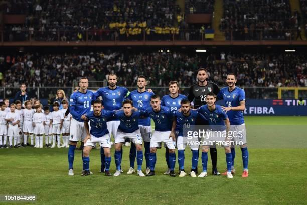 Italy's defender Alessandro Florenzi Italy's forward Federico Chiesa Italy's midfielder Marco Verratti Italy's forward Lorenzo Insigne and Italy's...