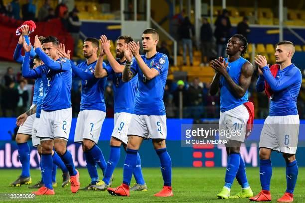 Italy's defender Armando Izzo, Italy's defender Leonardo Spinazzola, Italy's forward Leonardo Pavoletti, Italy's defender Gianluca Mancini, Italy's...