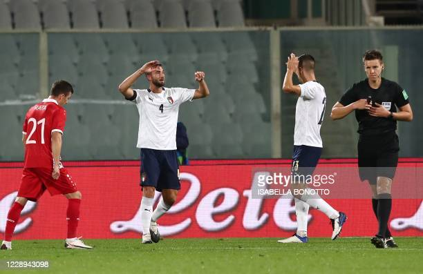 Italy's defender Bryan Cristante celebrates after scoring a goal during friendly football match between Italy and Moldova on October 7 at the...