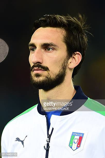 Italy's defender Davide Astori looks on during the friendly football match between Italy and Spain at FriuliDacia Arena Stadium in Udine on March 24...