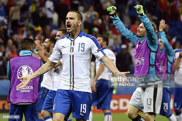TOPSHOT Italy's defender Leonardo Bonucci celebrates a 20 victory following the Euro 2016 group E football match between Belgium and Italy at the...