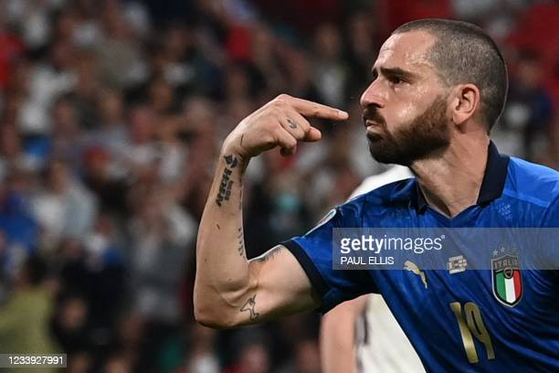 Italy's defender Leonardo Bonucci celebrates scoring the team's first goal during the UEFA EURO 2020 final football match between Italy and England...
