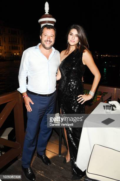 Italy's Deputy Premier and Minister of the Interior Matteo Salvini and Elisa Isoardi attend the Diva E Donna party during the 75th Venice Film...