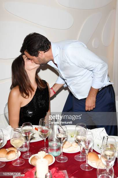 Italy's Deputy Premier and Minister of the Interior Matteo Salvini and Elisa Isoardi kiss at the Diva E Donna party during the 75th Venice Film...