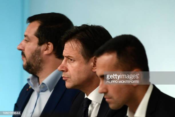 Italy's Deputy Prime Minister and Interior Minister Matteo Salvini Italy's Prime Minister Giuseppe Conte and Italy's Deputy Prime Minister and...