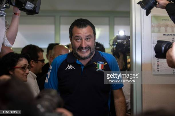 Italy's Deputy Prime Minister and leader of right-wing Lega political party Matteo Salvini arrives at a polling station before casting his vote for...