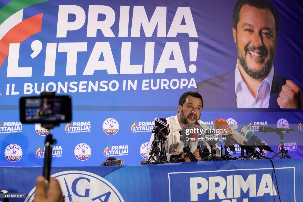 Salvini's Lega Party Holds EU Election Night Event : Foto di attualità
