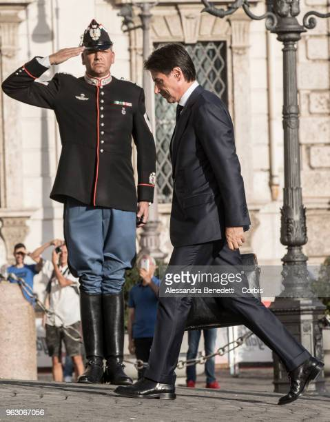 Italy's designated Prime Minister Giuseppe Conte enters the Quirinale Presidential Palace on May 27 2018 in Rome Italy Italy's political stalemate...