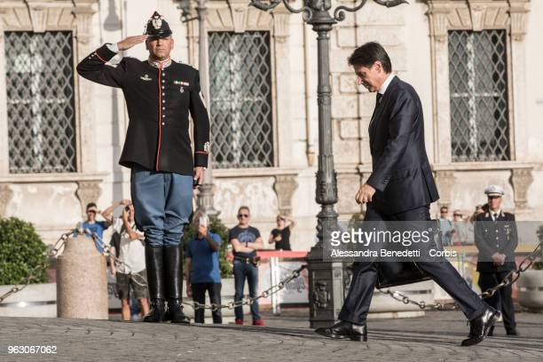 Italy's designated Prime Minister Giuseppe Conte enters the Quirinale Presidential Palace on May 27, 2018 in Rome, Italy. Italy's political stalemate...