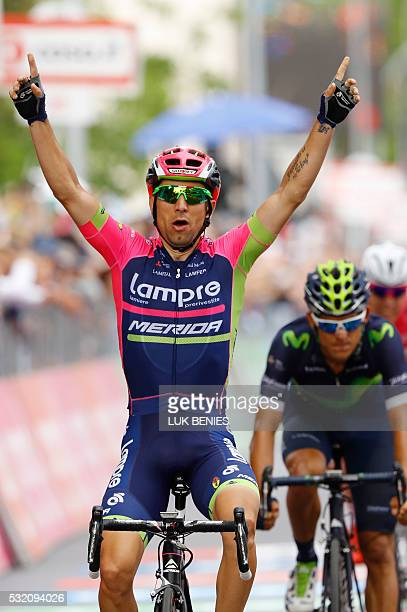 Italy's Diego Ulissi of team Lampre-Merida celebrates as he crosses the finish line to win the 11th stage of the 99th Giro d'Italia, Tour of Italy,...