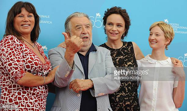 Italy's director Pupi Avati poses with Italy's actresses Serena Grandi Francesca Neri and Alba Rohrwacher during the photocall of the movie Il Papa...