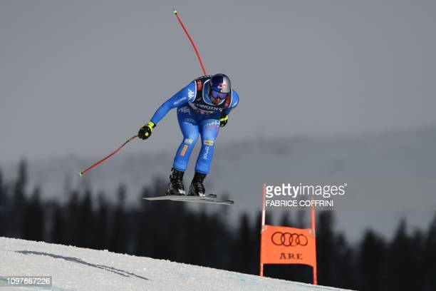 TOPSHOT Italy's Dominik Paris competes during the men's Combined Downhill event of the 2019 FIS Alpine Ski World Championships at the National Arena...