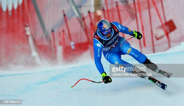 Italy's Dominik Paris competes during the men's Combined Downhill event of the 2019 FIS Alpine Ski World Championships at the National Arena in Are...