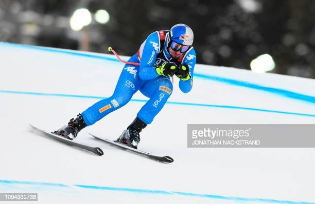 Italy's Dominik Paris competes during the men's Super G event of the 2019 FIS Alpine Ski World Championships at the National Arena in Are, Sweden, on...