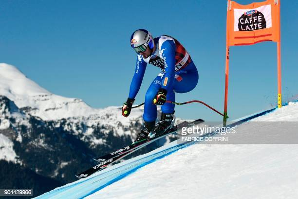 Italy's Dominik Paris competes in the Downhill race at the FIS Alpine Skiing World Cup in Wengen on January 13 2018 / AFP PHOTO / Fabrice COFFRINI