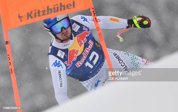 Italys Dominik Paris competes in the men's downhill event of the FIS Alpine Ski World Cup in Kitzbuehel Austria on January 25 2019